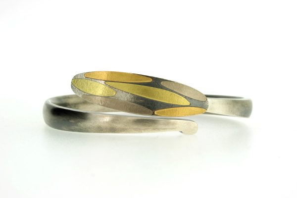 Leaf Design Oxidised Silver & 18ct Gold Bangle by Robert Feather Jewellery