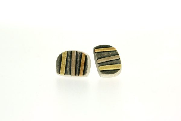 Striped Silver & 18ct Gold Ear Studs by Robert Feather Jewellery