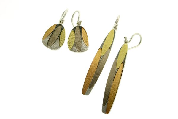 Leaf Design Silver & 18ct Gold Earrings by Robert Feather Jewellery