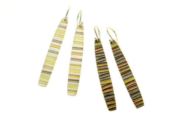 Striped Silver & 18ct Gold Earrings by Robert Feather Jewellery