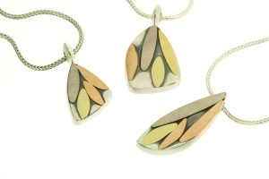 Leaf Design Silver & 18ct Gold Necklaces by Robert Feather Jewellery