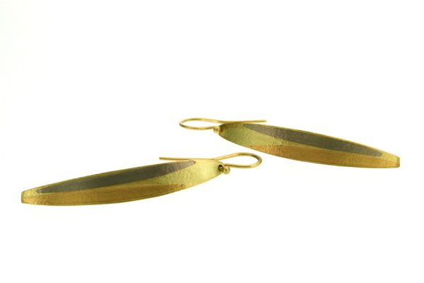 Leaf Design 18ct Gold Earrings by Robert Feather Jewellery