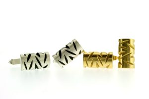 Notch Design Silver & 18ct Gold Cufflinks by Robert Feather Jewellery