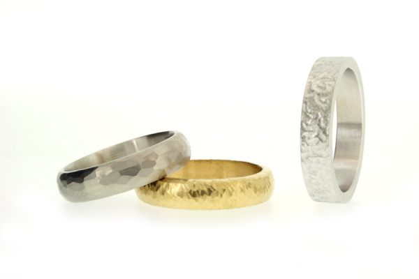 Hammered & Textured Patterned Wedding Rings by Robert Feather Jewellery