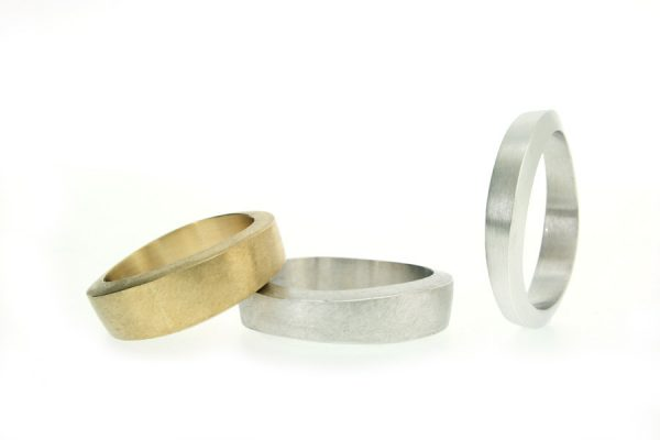 9ct Gold & Platinum Shaped Wedding Rings by Robert Feather Jewellery