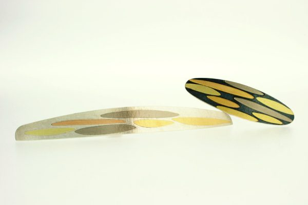 Silver & 18ct Gold Brooch Leaf Designs by Robert Feather Jewellery