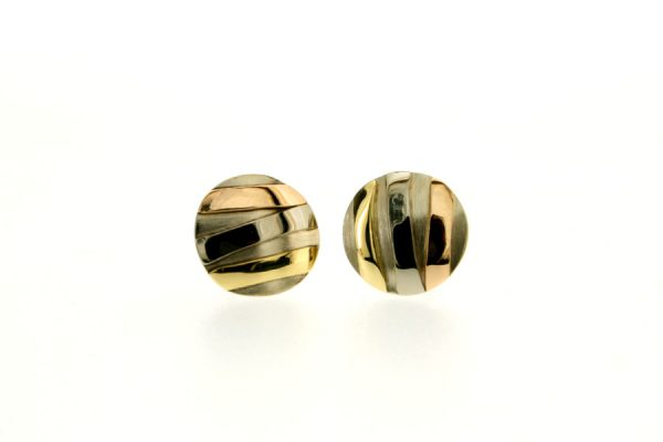 Striped Design 18ct White Gold Round Ear Studs by Robert Feather Jewellery