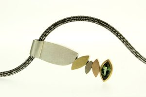 Marquise Design Green Tourmaline Silver & 18ct Coloured Gold Necklace by Robert Feather Jewellery