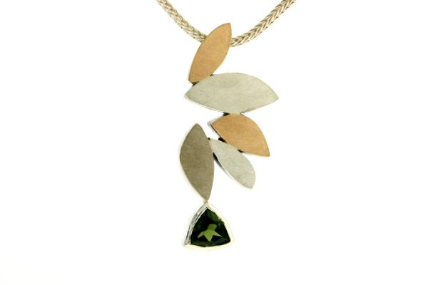 Marquise Design Trillion Tourmaline Silver & 18ct Coloured Gold Necklace by Robert Feather Jewellery