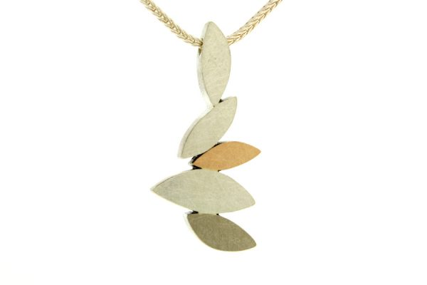Marquise Design Silver & 18ct Gold Necklace by Robert Feather Jewellery