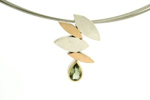 Marquise Design Pear Tourmaline Silver & 18ct Coloured Gold Necklace by Robert Feather Jewellery