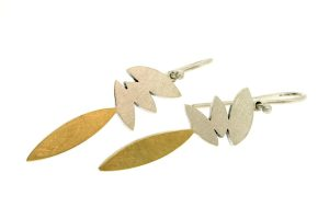 Marquise Design Silver & 18ct Gold Earrings by Robert Feather Jewellery