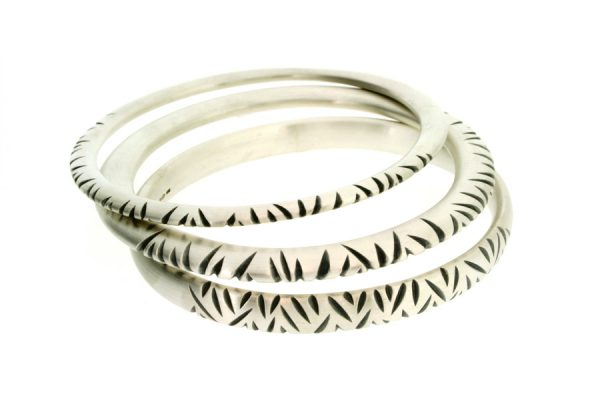 Notch Pattern Design Silver Bangles by Robert Feather Jewellery