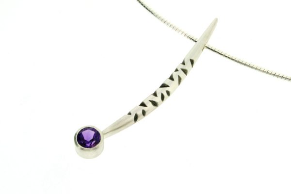 Notch Pattern Silver Amethyst Necklace by Robert Feather Jewellery