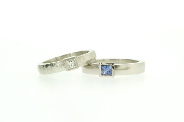 Princess Cut Diamond & Sapphire Platinum & Palladium Rings by Robert Feather Jewellery