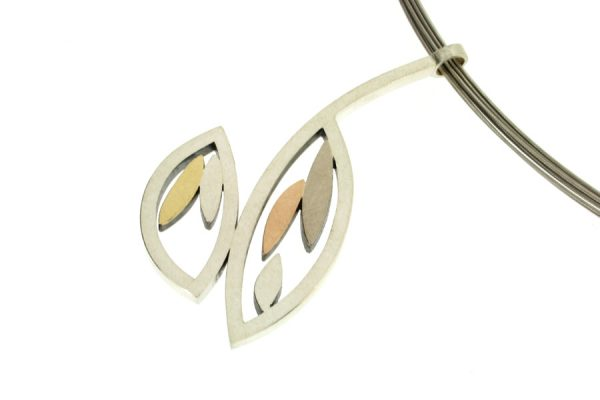 Frame Design Silver & 18ct Coloured Gold Necklace by Robert Feather Jewellery