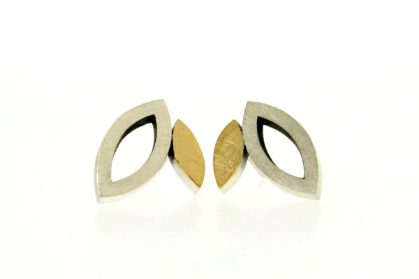Frame Design Silver & 18ct Gold Ear Studs by Robert Feather Jewellery