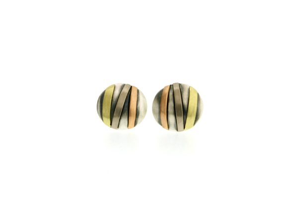 Striped Round Silver & 18ct Gold Ear Studs by Robert Feather Jewellery