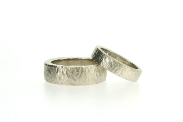 Platinum Wedding Rings with Hammered Finishes by Robert Feather Jewellery