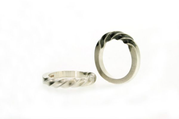 Oxidised Silver Twist Shaped Rings by Robert Feather Jewellery