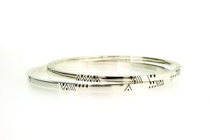 Chevron Pattern Design Silver Bangles by Robert Feather Jewellery