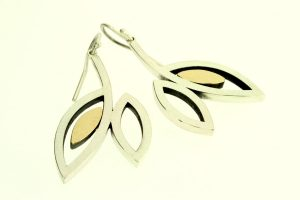 Frame Design Silver & 18ct Gold Earrings by Robert Feather Jewellery