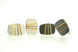 Silver & 18ct Gold Striped Cufflinks by Robert Feather Jewellery