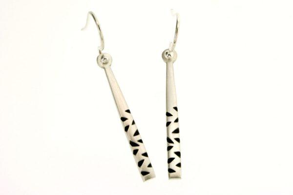 Notch Pattern Silver Earrings by Robert Feather Jewellery