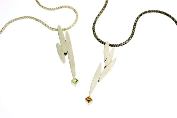 Leaf Design Peridot & Citrine Silver Necklaces by Robert Feather Jewellery