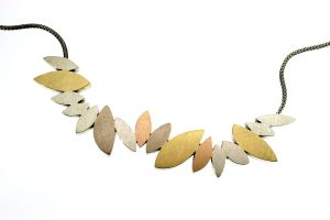 Marquise Design Silver & 18ct Coloured Gold Necklace by Robert Feather Jewellery