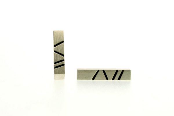 Bar Design Silver Ear Studs by Robert Feather Jewellery