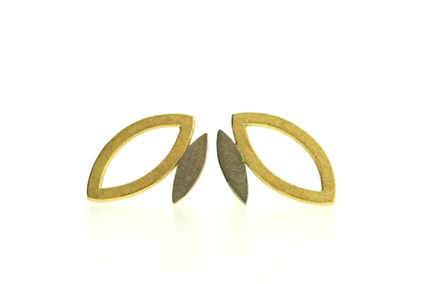 Frame Design 18ct Gold Earstuds by Robert Feather Jewellery