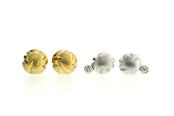 Notch Pattern 18ct Gold & Diamond Round Ear Studs by Robert Feather Jewellery