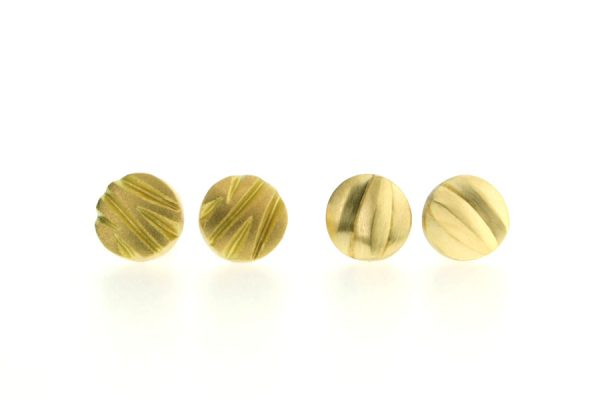 Zig Zag & Wave Design 18ct Gold Round Ear Studs by Robert Feather Jewellery