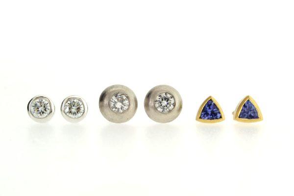 Diamond & Tanzanite Platinum & 18ct Gold Ear Studs by Robert Feather Jewellery