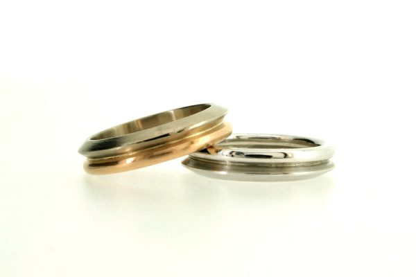 Multi Band 18ct Gold & Platinum Wedding Rings by Robert Feather Jewellery