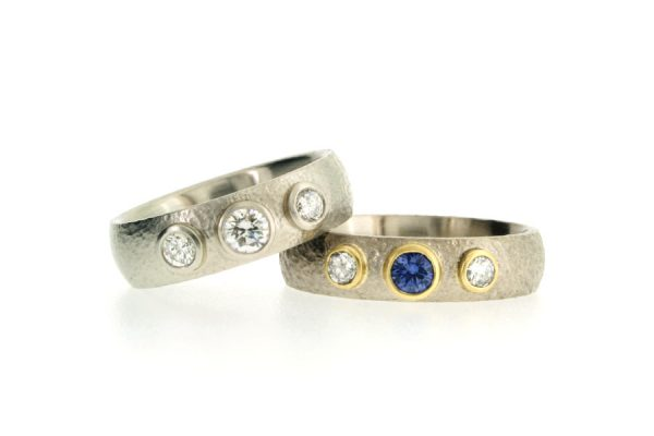 Three Stone Diamond & Sapphire Platinum & 18ct Gold Rings by Robert Feather Jewellery