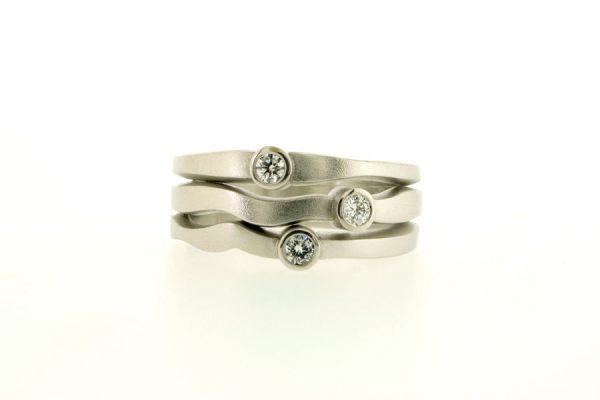 Round Three Stone Brilliant Cut Diamond Platinum Ring by Robert Feather Jewellery