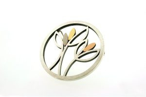 Frame Design Round Silver & 18ct Gold Brooch by Robert Feather Jewellery