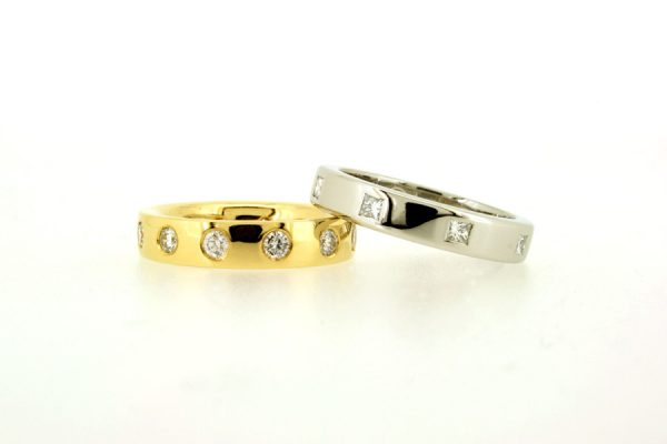 Princess Cut & Round Diamond Set 18ct Gold & Platinum Rings by Robert Feather Jewellery