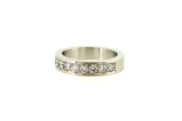 Round Brilliant Cut Diamond Platinum Eternity Ring by Robert Feather Jewellery