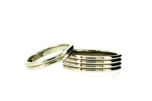 Ribbed Pattern Palladium Wedding Rings by Robert Feather Jewellery