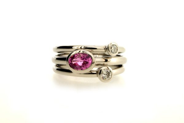Oval Pink Sapphire & Diamond Platinum Ring by Robert Feather Jewellery