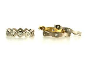 Diamond Set 18ct Gold, Platinum & Palladium Rings by Robert Feather Jewellery