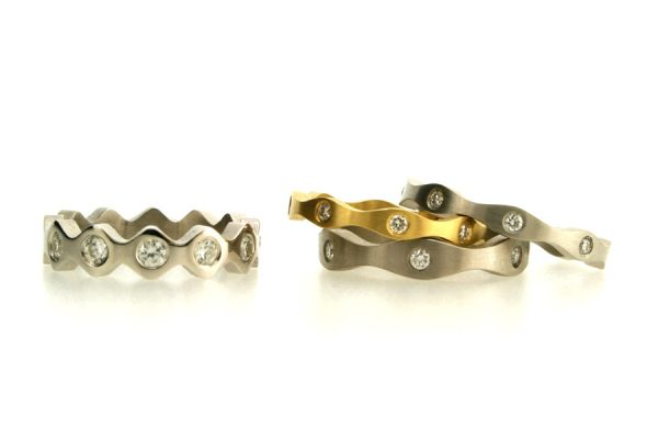 Diamond Set 18ct Gold, Platinum & Palladium Rings by Robert Feather Jewellery