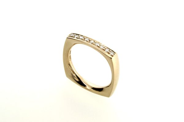 Diamond Set Square 18ct Gold Ring by Robert Feather Jewellery