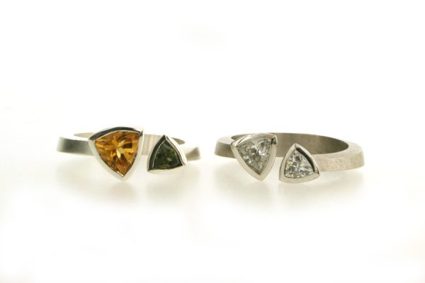 Two Stone Trillion Cut Diamond Platinum & Trillion Stone Silver Rings by Robert Feather Jewellery