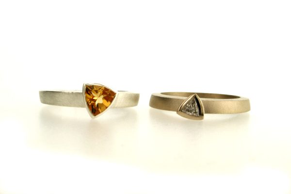 Trillion Diamond 18ct White Gold & Citrine Silver Rings by Robert Feather Jewellery