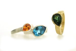 Pear Tourmaline, Topaz & Sapphire 18ct Gold & Silver Rings by Robert Feather Jewellery