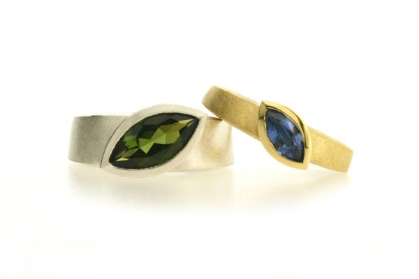 Marquise Cut Tourmaline & Sapphire Silver & 18ct Gold Rings by Robert Feather Jewellery